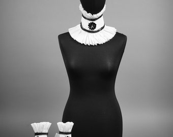 Removable detachable collar with arm cuffs, designer collar with ruffles for fetish or exclusive outfits