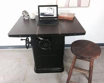 Vintage Industrial Desk - Table Saw Repurposed