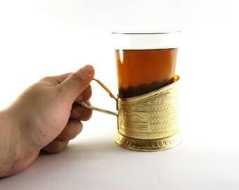 Set vintage Glass Holder with glass metal glass holders cup holder Russian Tea Glass Holder Podstakannik utensils for tea coffee holder