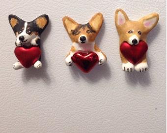 Corgi heart magnets set of 3