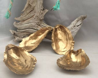 40 Cup Side Gold Painted Oyster Shells 2.5-4 Inches Long  from Cape Cod Bay Vanity Dish Salt Cellars Escort Cards Coastal Jewelry Bowl