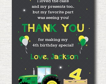 Tractor Thank you card, Tractor Thank you note, Tractor  Birthday, Tractor  party, printable