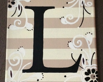 Hand-painted personalized Floral Initial Canvas wall/door art sign in Khaki STRIPE/Black/White 8x10