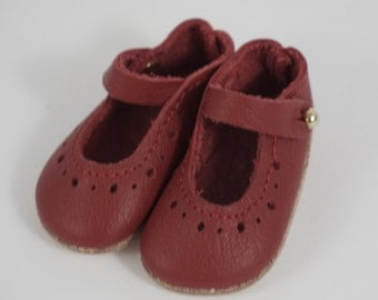 Doll shoes mary jane style 5,8x2,8 cm genuine leather RED