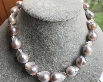 Baroque pearl necklace,large baroque pearl Necklace,Nucleated pearl necklace 15-18mm  baroque pearl necklace,fireball pearl necklace 18inch