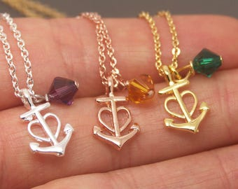 Heart Anchor Necklace, Heart Necklace, 12 Month Birthstone Necklace, Heart Love Necklace, Anchor Jewelry, Bridesmaid Necklace NB842