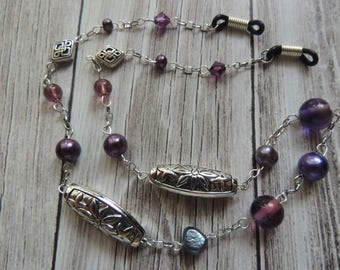 Purple Bead and Silver plated Glasses Chain
