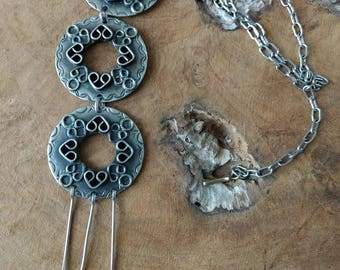 Vintage Chunky Necklace - Large Pendant - Bohemian Jewelry - 1960