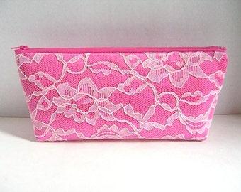 Hot Pink Satin Clutch - Light Pink Lace Clutch - Bridesmaid Makeup Bag - Wedding Clutch - Bridesmaid Clutch - Bridesmaid Gift - Hot Pink Bag