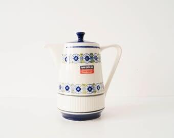 60s waku, ceramic teapot, coffee pot, teapot, fireproof