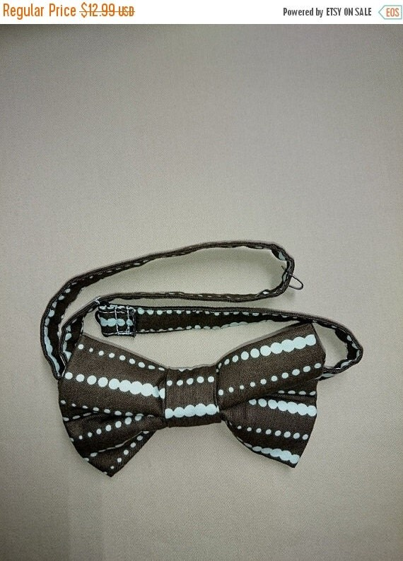 Winter Sale CLEARANCE  Colorful  Pre-Tied Bow Tie in  Adult Size  Brown With Aqua Dots