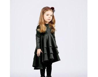 Long sleeve black toddler dress-Flutter baby dress-black toddler clothes-Cotton girls dress-Flower Girls Dress-Christmas girls dress