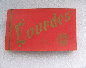 Exquisite vintage book of postcards from Lourdes in France