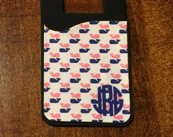 Personalized iPhone Credit Card Holders - Monogrammed iPhone Case - Adhesive iPhone Card Holder - Cell Phone Card Caddy - ID Card Holder