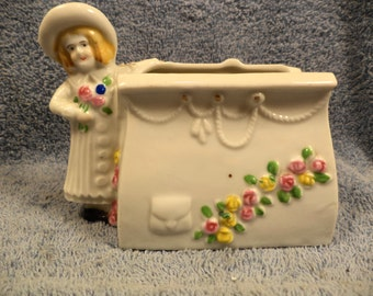 Victorian Dressed Girl By Purse Planter