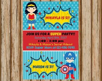 "Wonder Woman and Captain America Birthday Invitations- Sibling Superhero Birthday Party- Sibling Birthday Invitations- 5"" x 7"" size- Digital"
