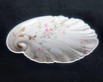 Lanternier, Limoges Porcelain Scalloped Relish Dish in the LNT26 pattern of pink flowers circa 1900