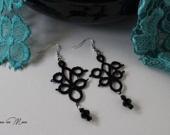 Black lace earrings with tatting style beads, pendant earrings for girl