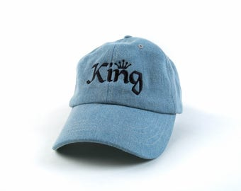 King Hat, King Dad Hat, King Baseball Cap, Denim Hat, Embroidered Baseball Cap, Adjustable Strap Back Baseball Cap, Low Profile