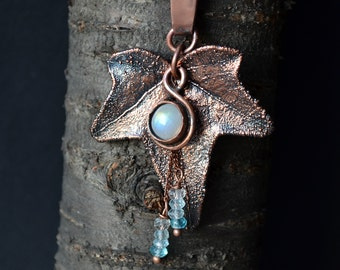 Ivy leaf etsy electroformed real ivy leaf ivy leaf pendant moonstone elven jewelry electroformed jewelry mozeypictures Image collections