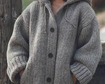 ladies chunky hooded jacket with pockets sizes s/3xl knitting pattern 99p pdf
