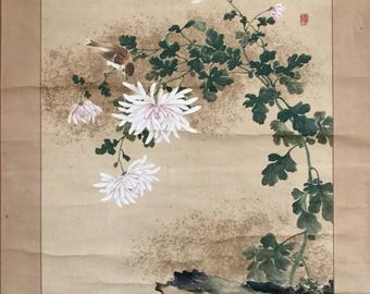 Antique Japanese watercolor painting scroll fine painted two sparrows and Chrysanthemum rockery w. one sealed
