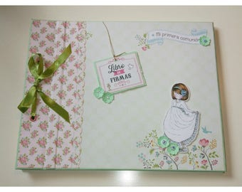 Signature of first communion book girl. Vintage scrapbooking. Reminder of a special day. Memories of celebration.