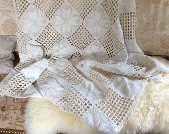 Vintage French Hand Crocheted Bed Cover Bedspread or Throw
