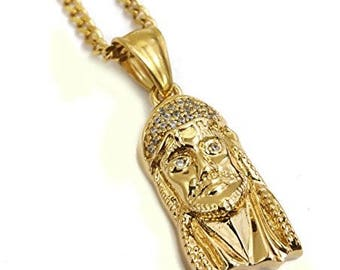 18k Gold Plated Stainless Steel Jesus Face Pendant Necklace