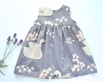 Lilac Swan Print Baby Dress.  Baby Dress in Beautiful Fabric. 'Geranium Dress'. Handmade Gift Baby Girl. Modern Dress.