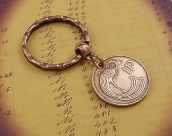 Genuine 1971 Irish Lucky Copper Penny Keychain Small Coin Gift