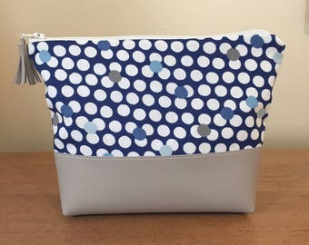 Blue Polka Dotted Leather Makeup Bag Cosmetic Case Tassle
