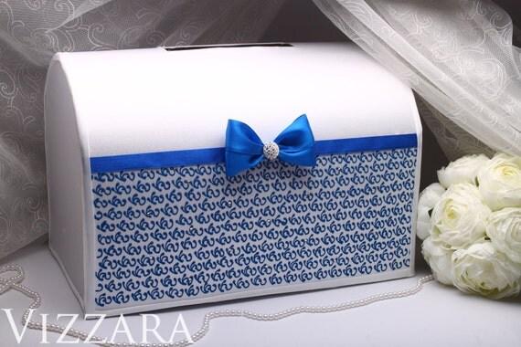 Wedding Box Blue HANDPainted Money Gift Card
