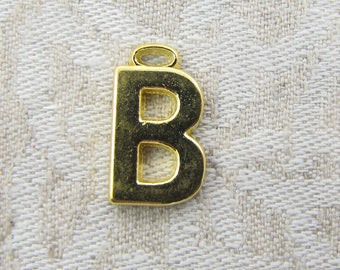 """Gold Wide Sans Serif Letter """"B"""" Charm, 1 or 5 letters per package  ALF005b-GL"""