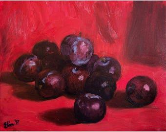 Original Oil Painting Small Still Life Painting Red Painting Original Painting Oil on Canvas Impressionist Art Original Art Original Artwork