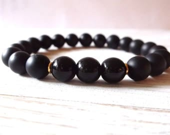 8mm healing stone bracelet, genuine black obsidian, natural stone stretch bracelet, obsidian and black onyx, protection and repel negativity