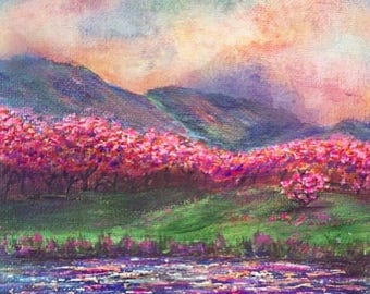 Blossom tree, mountain and lake with intense sky landscape painting