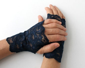 Navy Blue Lace Gloves, fingerless mittens, gift for her,