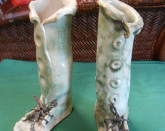 Pair Unusual FOOT Design-MALAHIDE Pottery Vases