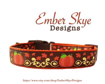 "Pumpkin Adjustable Dog Collar 1"" Wide"