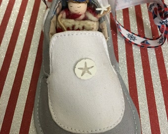 Elfin Sailor Baby in Boat Shoe