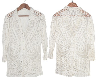 INSANE French Vintage White Crochet/Lace Blouse