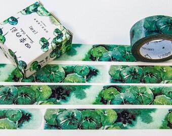 Washi masking tape - 15 mm x 7 m / green plants / Filoxafing DIY scrapbooking decorative ribbon tape