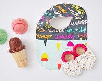 Ice cream party, first birthday photo prop, ice cream birthday party, ice cream baby bib, ice cream baby booties, toddler birthday gift