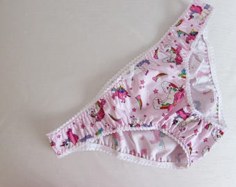 Biscuit's Adorable Unicorn Panties for Men. Handmade by Biscuit Couture. Available in pink, black, blue and white.