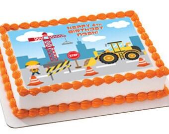Construction edible cake image, construction edible cake topper, construction edible cupcake topper, construction cupcake, construction cake