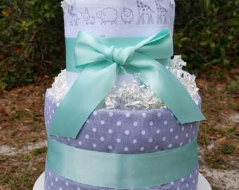 AS IS Ready to SHIP Diaper Cake with Two Blankets
