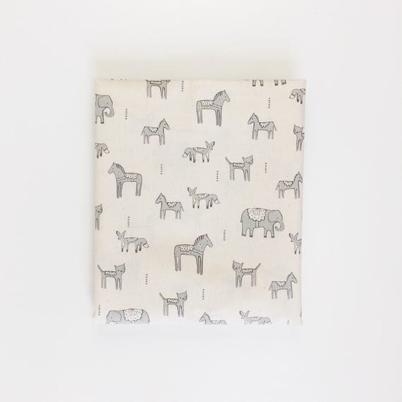 Changing Pad Cover in Flower Shop Dala Friends in Grey - Made-to-Order - grey changing pad, boho animal changing pad, bohemian change pad