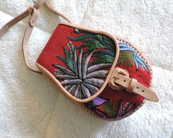 Embroidered ethnic cross body leather bag- red