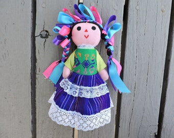 4 Mexican traditional handmade dolls